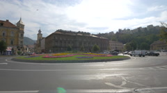 Beautiful roundabout on Eroilor Boulevard, Brasov Stock Footage