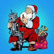 Santa Claus gift robot battery - stock illustration