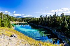 Third Lake, Valley of the 5 Lakes, Jasper National Park, Alberta, Canada Stock Photos