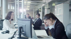 Exhausted and Stressed Female Worker on Workplace in Office. - stock footage