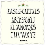 rustic capitals style alphabet - stock illustration