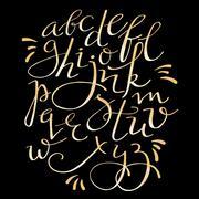 gold flourish alphabet - stock illustration