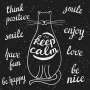 Chalkboard styled cat and positive messages Piirros
