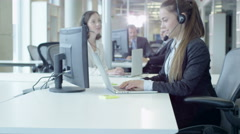 Moving through Crowded Customer Support Call Center. Stock Footage
