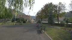 View from a park located on Eroilor Boulevard, near Aro Palace, Brasov Stock Footage