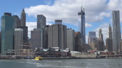 New York City panoramic Pier 17 touristic boat ship sail famous skyline iconic  Stock Footage
