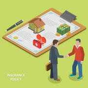 Insurance policy deal flat isometric vector. - stock illustration