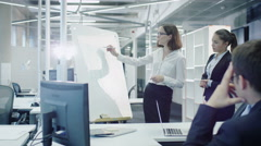 Team of Office Workers Have Meeting. Woman does Presentation with Graphs. Stock Footage