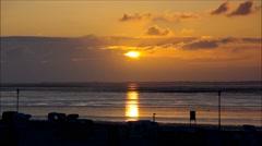Sundown on the North Sea beach in Neuharlingersiel, timelapse Stock Footage