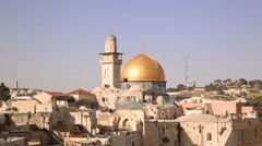 Minaret and Mousque of Al-aqsa and in Jerusalem - stock footage