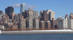Amazing New York City panorama sunny day business tower apartment building icon Stock Footage