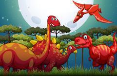 Red dinosuars under full moon in nature Stock Illustration