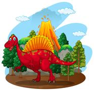 Red dinosaur with volcano behind Stock Illustration