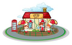 Waiter and waitress in front of cafe Stock Illustration