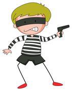 Robber with mask firing  gun Stock Illustration