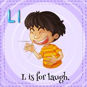 Flashcard letter L is for laugh Stock Illustration