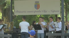 WFanfare playing in Central Park, Cluj-Napoca Stock Footage