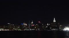 Amazing New York City panorama night illuminated waterfront Empire State build Stock Footage