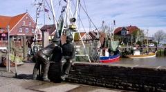 Neuharlingersiel in germany, the harbour Stock Footage