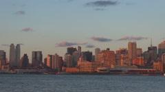 Amazing New York City panorama sunset orange light Manhattan skyline skyscraper  Stock Footage