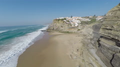 Aerial video footage of Azenhas do Mar, located on the cliffs near Sintra Stock Footage