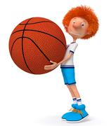 Stock Illustration of 3d boy basketball player