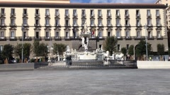 Fountain neptune - Naples -IT Stock Footage