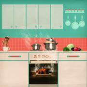 Overlooked roast chicken in an oven Stock Illustration