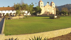 Historic Mission Santa Barbara at sunrise Stock Footage