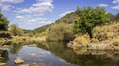 4k Timelapse Alentejo countryside water stream landscape Stock Footage