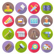 Renovation Flat Icons Set Stock Illustration