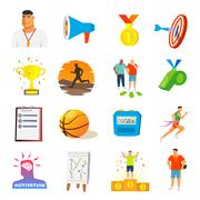 Coaching And Sport Flat Icons Stock Illustration