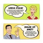 Comics Man And Woman Banner Set - stock illustration