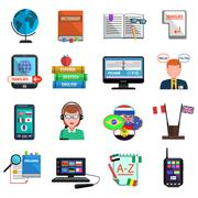 Stock Illustration of Multilanguage Translator Colorful Flat Icon Set