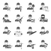 Worker Icons Black Set - stock illustration
