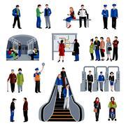 Subway passengers flat icons collection Stock Illustration