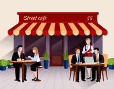 Street cafe customers flat banner illustration Stock Illustration