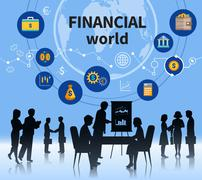 Financial business world concept composition banner - stock illustration
