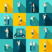 Golf People Flat Stock Illustration