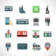 Subway Icons Set - stock illustration
