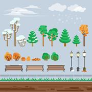 Game 2d  winter landscape park background - stock illustration