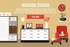 Bedroom Storage Illustration - stock illustration