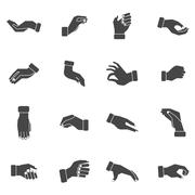 Hand palms grabbing black icons set - stock illustration