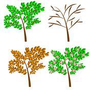 Vector seasonal trees Stock Illustration