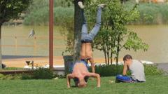 WThree boys in Iulius Park, Cluj-Napoca Stock Footage