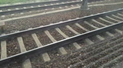 Fast Running Railways Tracks and Switch Canted Shot - stock footage