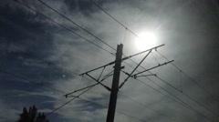 Railroad Overhead Power Line Stock Footage