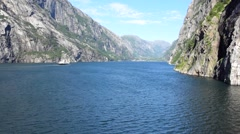 Ferry a Fjord in Norway Stock Footage