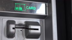 Inserting and removing debit card from ATM 4k Stock Footage