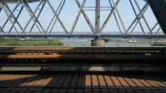 Danube Anghel Saligny Bridge Crossing Stock Footage